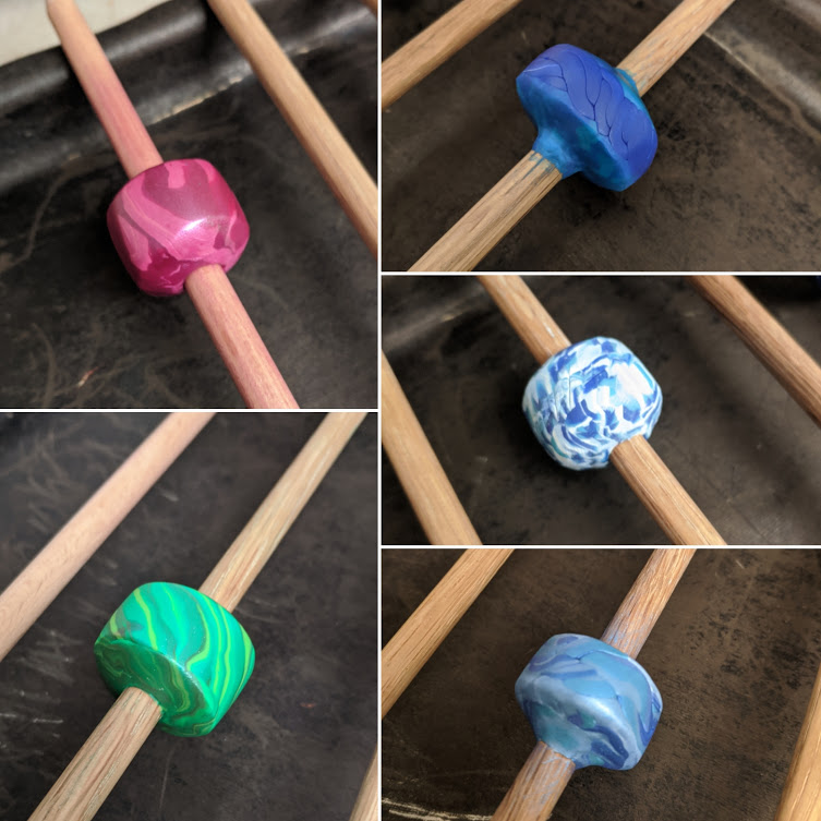 Polymer Clay on Wooden Dowels